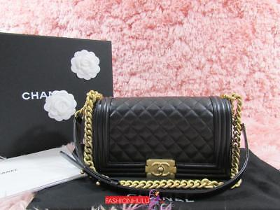 e19ee6d4fb57 2018 CHANEL Old Medium Black Caviar Boy Bag Matte Gold HW/ Pls read  description