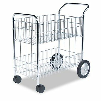 Fellowes Chrome-Plated Wire Mail Cart, 200 lb capacity W