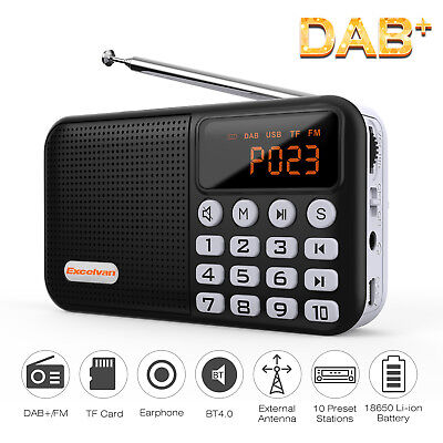 Digital Radio Portable DAB/DAB+/FM Built-In Battery Charger play up to 20hours