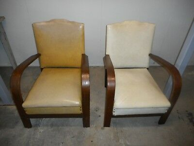 2 Vintage Matching Lounge Chairs Retro 1960's solid but need repair