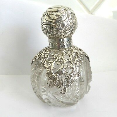 Victorian Repousse Silver Hinged Top Perfume Bottle Stunning  Hm Chester 1894