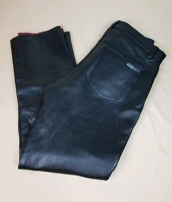 Mens American Pro Motorcycle Race Black Leather Pants With CE Rated 34x30 EUC A