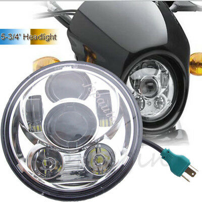 """5-3/4'' 5.75"""" Round Chrome HI Lo LED Motorcycle Headlight Projector For Harley"""