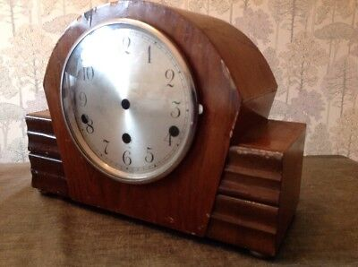 Antique Mantle Clock Case Art Deco Bezel And Glass 38x23x12cm