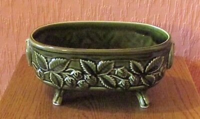 Vintage Holkham Four-footed Plant Pot  Holder in Heavy Moss Green Glaze.