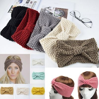Cute Women Wool Bow Turban Knitted Headwrap Hair Band Winter Ear Warmer Headband