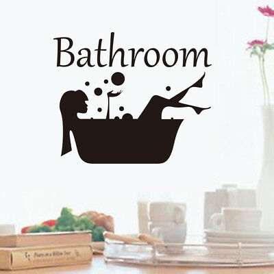 Bathroom Wall Sticker Removable Art Vinyl Mural Room Toilet Door Vinyl Decal WL