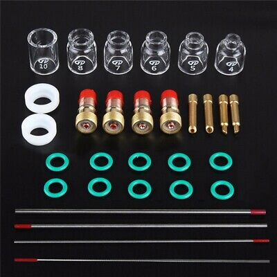 30 Pcs TIG Welding Stubby Gas Lens Pyrex Cup Kit Fits For Tig WP-17/18/26 Torch