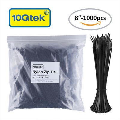 Zip Ties (700pcs) Self-Locking 4+6+8+14.6-Inch Nylon Cable Ties in Black&White