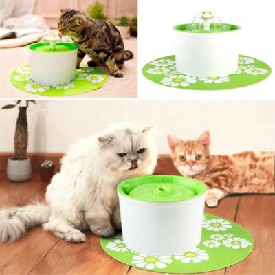 Flower Automatic Electric Pet Cat Dog Water Drinking Fountain Bowl Filter 1.6L W