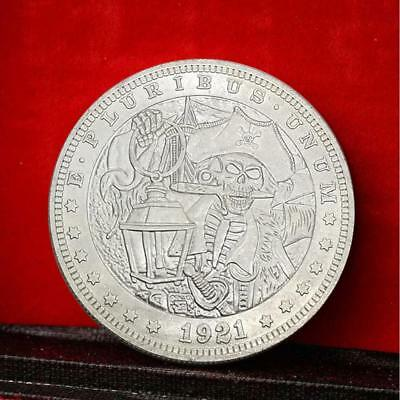 1921 Natural Skull Commemorative Round Coins Silver Plated Souvenir Coins TOP
