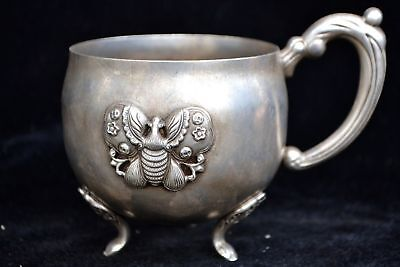 Collectible China old tibet silver handwork Carve butterfly Cup usable statue
