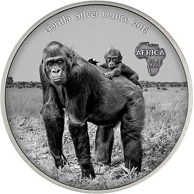 Kongo 1000 Francs 2018 Gorilla mit Baby Antique Finish Silver Ounce