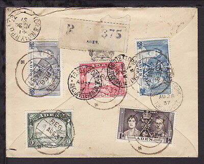 ADEN 1937 RAIL POST OFFICE REGISTERED COVER to YORK MILLS CANADA DHOW STAMPS x 5