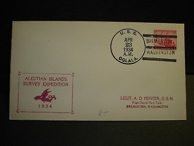 USS OGLALA CM-4 Naval Cover 1934 ALEUTAIN ISLANDS SURVEY EXPEDITION Cachet