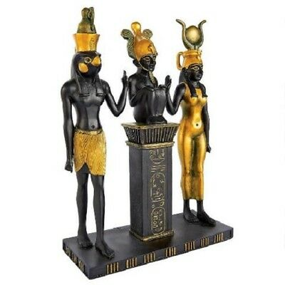 Egyptian Dynasty Gods Triad Family Sculpture Isis Horus Osiris Statue