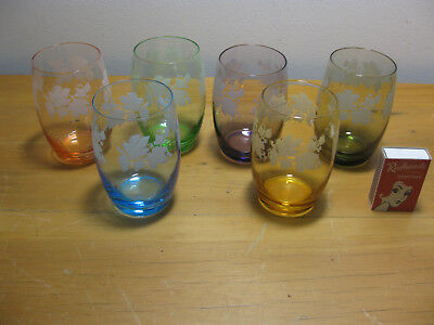 Vintage HARLEQUIN DRINKING GLASSES retro party dining tableware  SET OF SIX