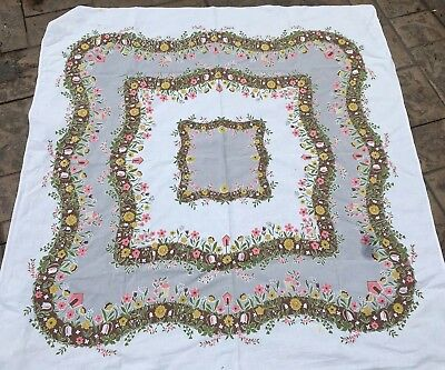 "Vintage Mid Century PRINT Tablecloth Pink White Flowers Brown Edge 48"" Sq"