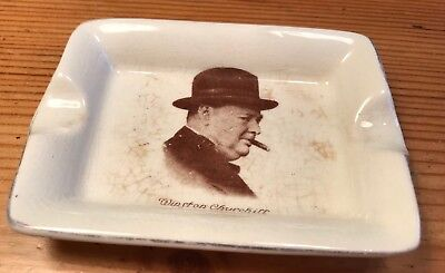 Vintage Sir Winston Churchill Trinket Dish Ash Tray Political WW2 Militaria