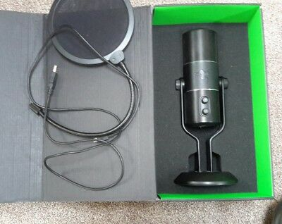 razer seiren microphone with pop filter, youtube, podcasts