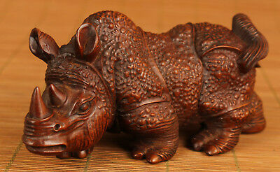 big chinese old Boxwood Hand Carved rhinoceros Statue Figure Netsuke Collect