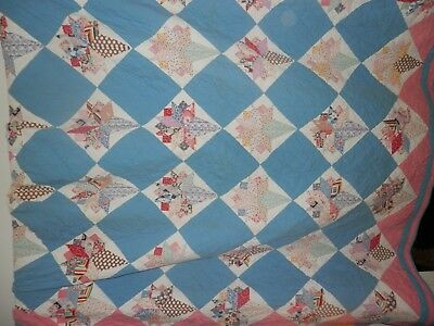 Antique Hand Pieced And Hand Sewn Flower Brides  Bouquet Quilt, 84 X 86