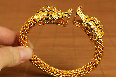 Rare Big chinese old Copper Plate-gold Dragon Bracelet
