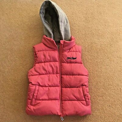NEXT Girls pink Gilet Bodywarmer with detachable hood size 9 - 10 years