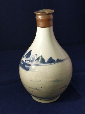 Chinese Antique Blue And White Porcelain Bottle  Vase c1700