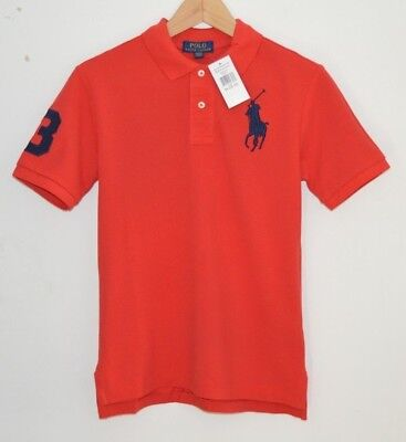RALPH LAUREN BIG PONY red cotton polo shirt top tshirt Sizes: Age 6 to 14 years