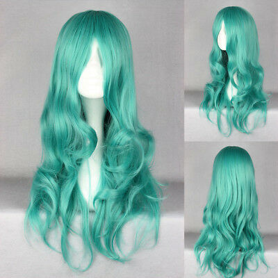 Ladieshair Cosplay Wig Perücke türkis 65cm lockig Sailor Moon Kaiou Michiru A7T