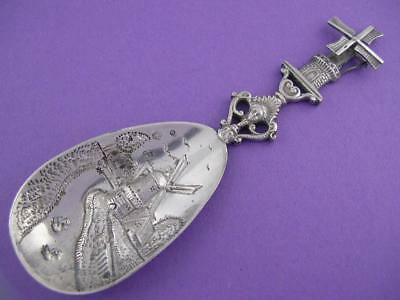 Old Dutch 833 Silver Ornamental Spoon w/ Windmill & face handle w/ scenic bowl
