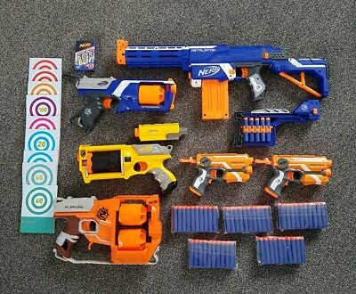 Giant Nerf Gun Bundle - 6 Guns 100 New Bullets Targets And Other Accessories