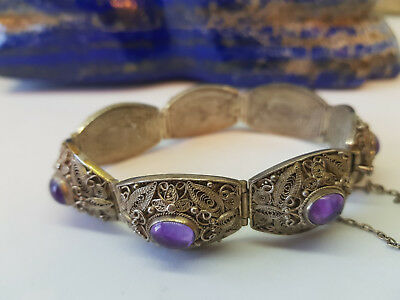 Rare Antique Chinese Export Amethyst Bracelets 44.9 G.