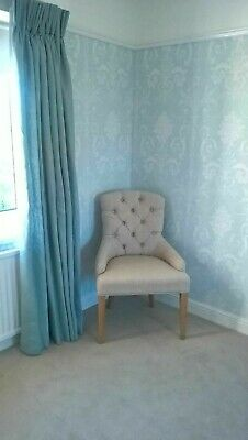 DUCK EGG BLUE Pure Linen BLACKOUT Thermal INTERLINED Lined  2.75m Drop CURTAINS