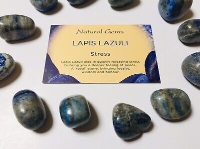 Lapis Lazuli tumblestone 20-25mm with free  organza bag and crystal card