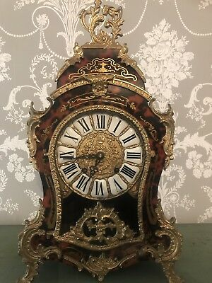 Antique French Boulle Mantel Clock Red Shell Ormolu Rococo Inlay Glazed Front
