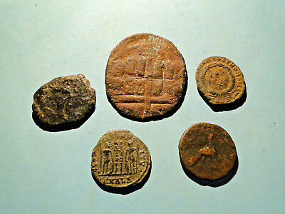 An Interesting Selection of Five Roman coins for Research and Identification.