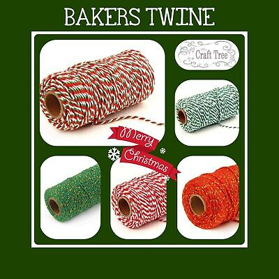 Christmas Bakers Twine Candy Cane Crafts String Ribbon 100% cotton Xmas