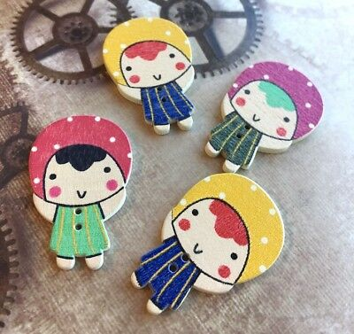 10 Wooden Buttons Girl for Sewing or Scrapbooking