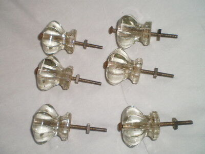 Antique Vintage 6 Glass, 6 Point Crystal Furniture Knob Handles 6-4-1 price