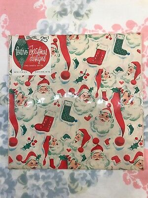 Vintage Whitman Mid Century Christmas Santa Wrapping Paper New In Package