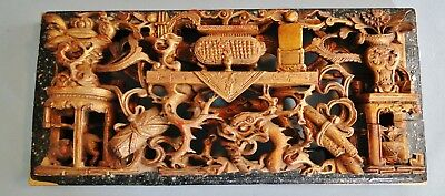 Antique Finely Crafted Chinese Carved Gilt Wood Panel Dragon Temple Items 1920