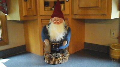 """Woodland Garden Holiday Gnome 27"""" Handmade Handcrafted One of a Kind"""