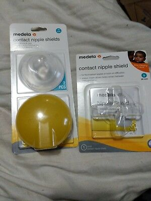 Lot of 3 Medela Contact Nipple Shield, 20mm, NEW, Small and case
