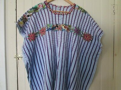 purple stripe Vintage Woven flower birds Embroidered Huipil Tunic Top Guatemala
