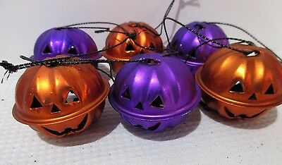 Halloween Pumpkin Orange Purple Mini Bell Tree Ornaments Decorations Set of 6