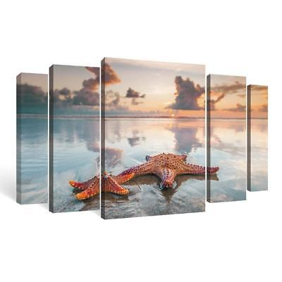 Home Decor Clearance Wall Art Canvas Sunset Over Ocean Living Bedroom Room 5pcs