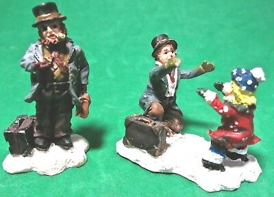 2 Miniature Christmas Village Figurines: Man w Top Hat & Girl Greeting Father