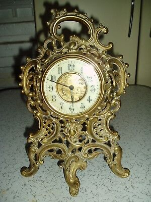 Antique Brass Mantle Clock In A/f Condition